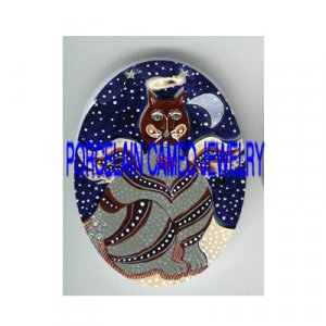 ANGEL KITTY CAT HALO MOON STARS* UNSET PORCELAIN CAMEO CAB
