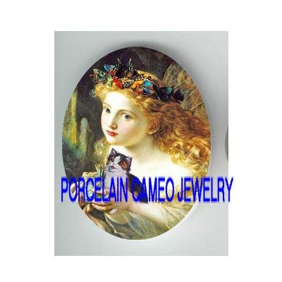 VICTORIAN ROCOCO BUTTERFLY FAIRY WITH KITTY CAT  * UNSET PORCELAIN CAMEO CAB