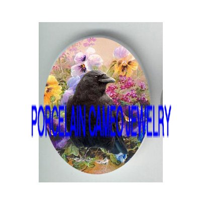CROW RAVEN BIRD COLORFUL PANSY PORCELAIN CAMEO CAB 18X25MM