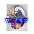 AFRICAN GREY PARROT BIRD MOM BABY ROSE PORCELAIN CAMEO CAB 18X25MM