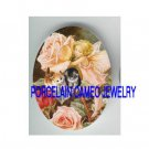 VICTORIAN ROSE BUTTERFLY FAIRY 2 KITTY CAT  * UNSET PORCELAIN CAMEO CAB