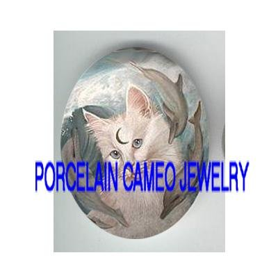 KITTY CAT MOON PLAY 3 DOLPHIN  * UNSET PORCELAIN CAMEO CAB