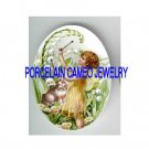 VICTORIAN LILY OF THE VALLEY FAIRY WITH KITTY CAT  * UNSET PORCELAIN CAMEO CAB