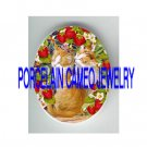 2 KISSING KITTY CAT STRAWBERRY CAMEO PORCELAIN CAB