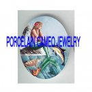 ROSE MERMAID WITH DOLPHIN SEA TURTLE * UNSET PORCELAIN CAMEO CAB