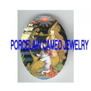 VICTORIAN MERMAID KITTY CAT PLAY HARP* UNSET PORCELAIN CAMEO CAB