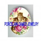 3 VICTORIAN KITTY CAT ROSE DAISY* UNSET PORCELAIN CAMEO CAB