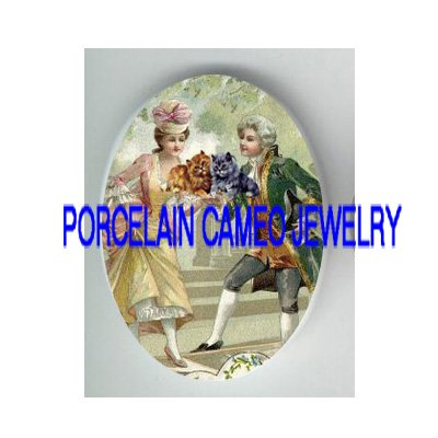 FRENCH COURTING COUPLE 2 KITTY CAT* UNSET PORCELAIN CAMEO CABO