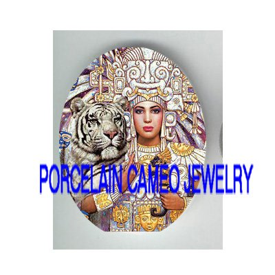 EXOTIC MAYA QUEEN WHITE TIGER  * UNSET PORCELAIN CAMEO CAB