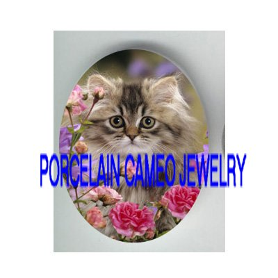 GREY PERSIAN KITTY CAT WILD ROSE PORCELAIN CAMEO CAB