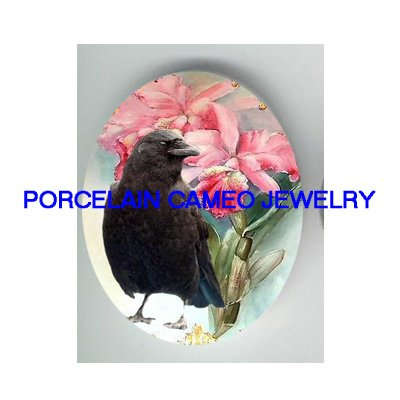 CROW RAVEN BIRD PINK ORCHID PORCELAIN CAMEO CAB 18X25MM