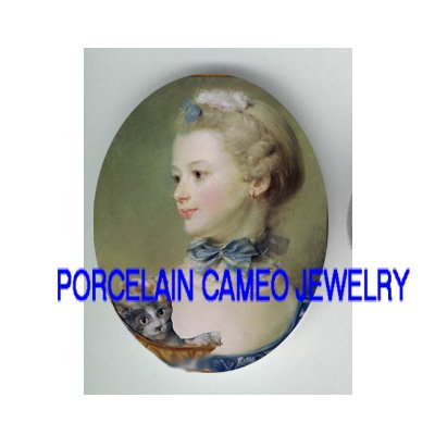 VICTORIAN LADY WITH KITTY CAT * UNSET PORCELAIN CAMEO CAB