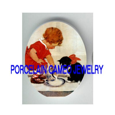 VICTORIAN GIRL FEED KITTY CAT MILK * UNSET PORCELAIN CAMEO CAB