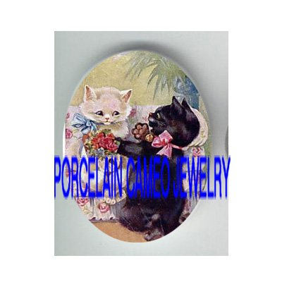 VICTORIAN COUPLE KITTY CAT PROPOSE* UNSET PORCELAIN CAMEO CAB