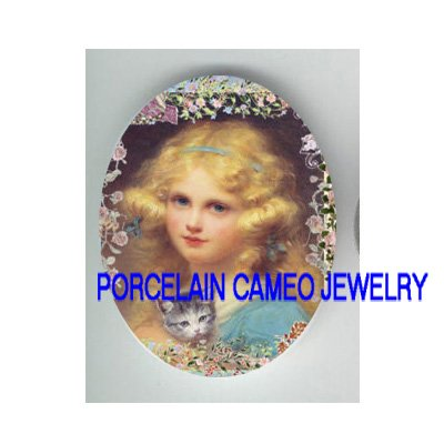 VICTORIAN BLONDE GIRL KITTY CAT FLOWER * UNSET PORCELAIN CAMEO CAB