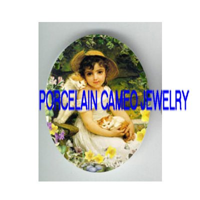 VICTORIAN GIRL 2 KITTY CAT FLOWER GARDEN* UNSET PORCELAIN CAMEO CAB