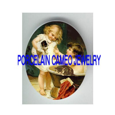 VICTORIAN GIRL BATH PUPPY DOG KITTY CAT* UNSET PORCELAIN CAMEO CAB