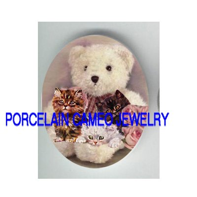 VICTORIAN KITTY CAT TEDDY BEAR ROSE* UNSET PORCELAIN CAMEO CAB