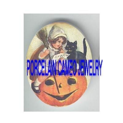 HALLOWEEN GIRL BLACK CAT PUMPKIN SPELL  * UNSET PORCELAIN CAMEO CAB