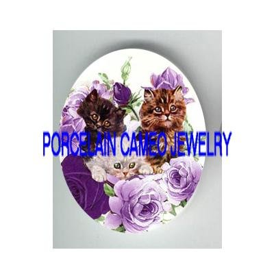 3  VICTORIAN KITTY CAT PURPLE ROSE * UNSET PORCELAIN CAMEO CAB