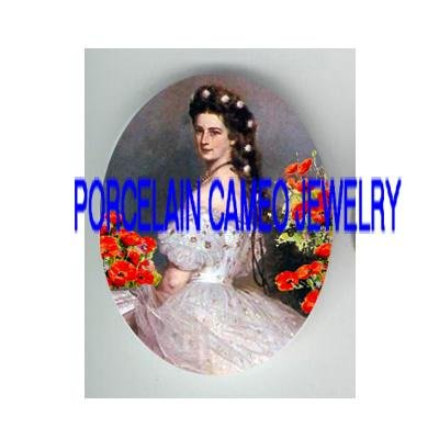VICTORIAN LADY HOLDING  FAN POPPY  * UNSET PORCELAIN CAMEO CAB