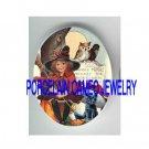 HALLOWEEN GIRL BLACK CAT OWL MOON PORCELAIN CAMEO CAB