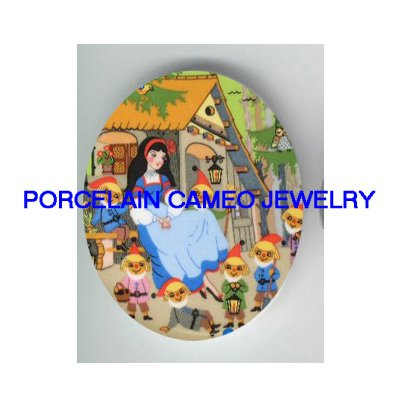 VICTORIAN SNOW WHITE AND 7 DWARF PORCELAIN CAMEO CAB