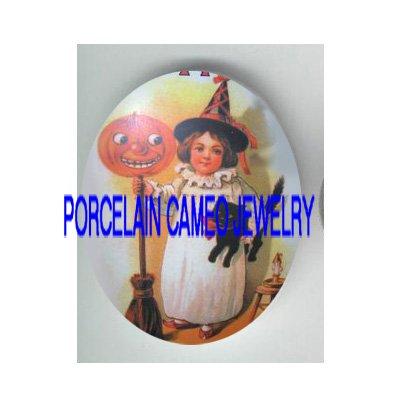 VICTORIAN HALLOWEEN GIRL BLACK CAT PUMPKIN* UNSET PORCELAIN CAMEO CAB