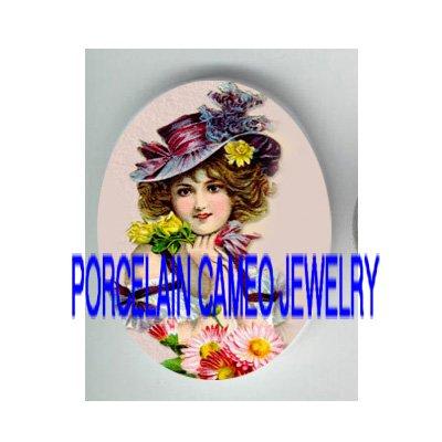 VICTORIAN ROSE VIOLET FLOWER HAT LADY* UNSET PORCELAIN CAMEO CAB