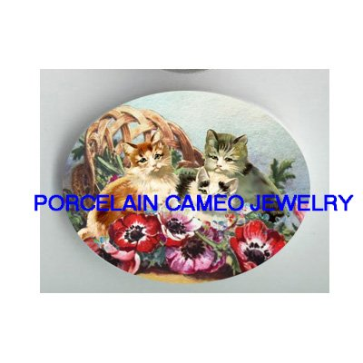 3 VICTORIAN KITTY CAT POPPY BASKET* UNSET PORCELAIN CAMEO CAB
