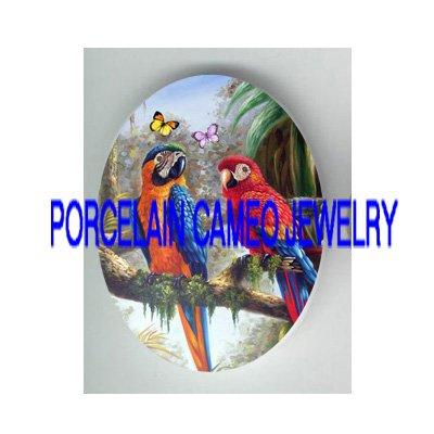 2 YELLOW PARROT BIRD BUTTERFLY PORCELAIN CAMEO 18X25MM