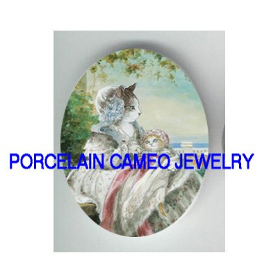 VICTORIAN QUEEN MOM HOLD KITTY CAT* UNSET PORCELAIN CAMEO CAB