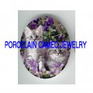 2 GRAY PERSIAN KITTY CAT PURPLE PANSY * UNSET PORCELAIN CAMEO CAB