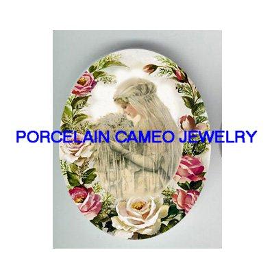 VICTORIAN VINTAGE BRIDE ROSE* UNSET PORCELAIN CAMEO CAB
