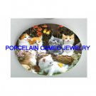 6 KITTY CAT COLLAGE BUTTERFLY GARDEN* UNSET PORCELAIN CAMEO CAB