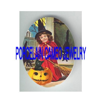 VICTORIAN HALLOWEEN GIRL 3 BLACK CAT PUMPKIN* UNSET PORCELAIN CAMEO CAB