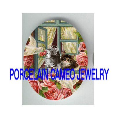 2 KITTY CAT WINDOW DOVE ROSE* UNSET PORCELAIN CAMEO CAB