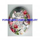 VICTORIAN KITTY CAT LADY FAN ROSE VIOLET* UNSET PORCELAIN CAMEO CAB