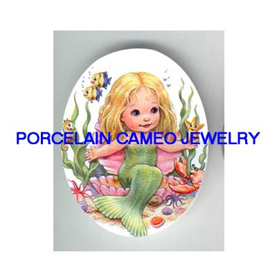 LITTLE MERMAID STARFISH SEAHORSE PORCELAIN CAMEO CAB