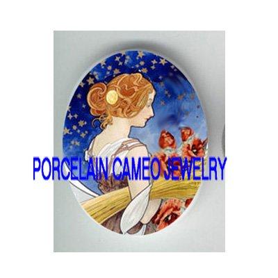 ALPHONSE MUCHA FALL POPPY LADY STAR PORCELAIN CAMEO CAB