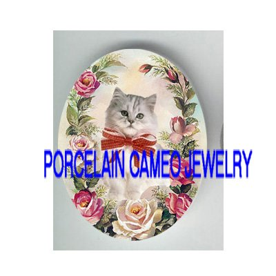 GRAY PERSIAN KITTY CAT PINK ROSE* UNSET PORCELAIN CAMEO CAB