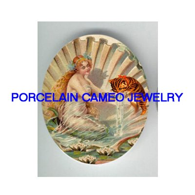 VICTORIAN SEASHELL MERMAID FEED KITTY CAT WATER * UNSET PORCELAIN CAMEO CAB