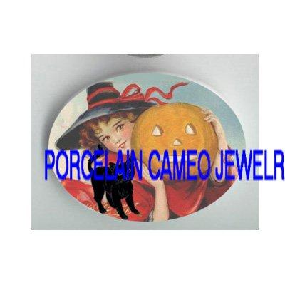 HALLOWEEN GIRL BLACK CAT PUMPKIN PORCELAIN CAMEO CAB