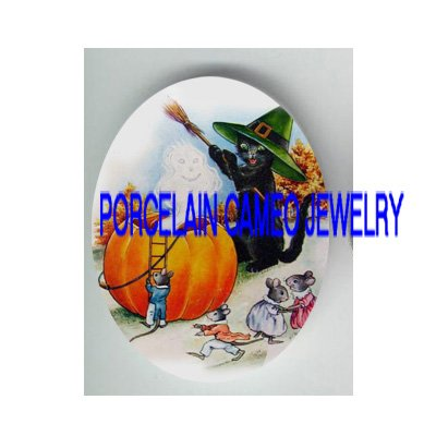 VICTORIAN HALLOWEEN BLACK CAT MOUSE PUMPKIN* UNSET PORCELAIN CAMEO CAB