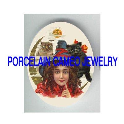 VICTORIAN HALLOWEEN GIRL BLACK CAT  OWL MOON* UNSET PORCELAIN CAMEO CAB