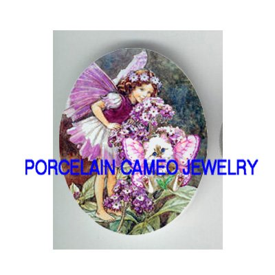 VICTORIAN BUTTERFLY FAIRY KITTY CAT FAIRY* UNSET PORCELAIN CAMEO CAB