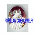 VICTORIAN QUEEN MOM CAT HOLD KITTY CAT PORCELAIN CAMEO