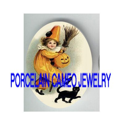 VICTORIAN HALLOWEEN GIRL PUMPKIN BLACK CAT* UNSET PORCELAIN CAMEO CAB
