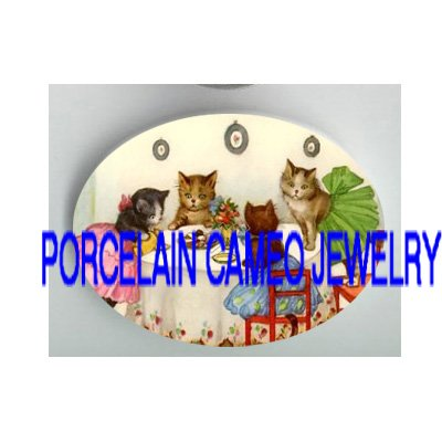 4 VICTORIAN KITTY CAT GIRL TEA PARTY * UNSET PORCELAIN CAMEO CAB