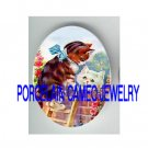 VICTORIAN KITTY CAT ROMEO JULIET ROSE* UNSET PORCELAIN CAMEO CAB